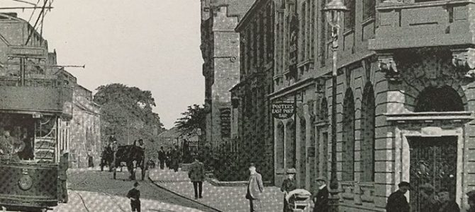 Old image of the corner of East Port where it meets the New Row.