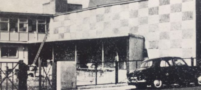 Old photograph of the postal sorting office in Woodmill Road.