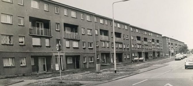 Photograph of flats in Trondheim Parkway in Abbey View.