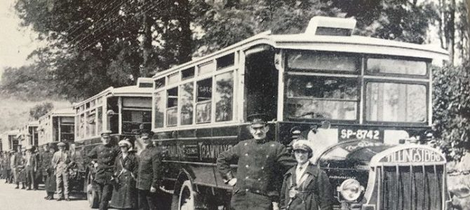 Vintage photograph of a bus outing lined up ready to leave Dunfermline