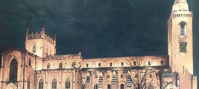 Stunning view of Dunfermline Abbey fully lit up in 1953 for the Coronation event…